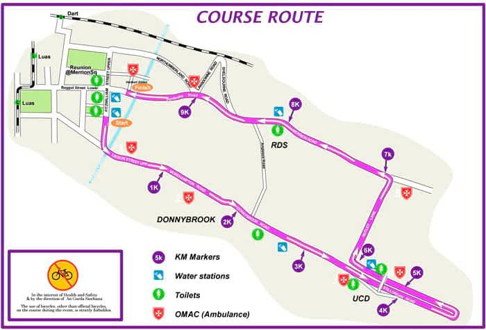 Mapa Women´s Mini Marathon Dublin